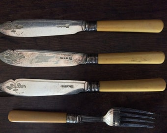 Vintage English 1 Fork 3 Knifes With Bone like Handles Cutlery Set circa 1920's / English Shop