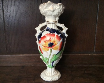 Vintage English Red White and Blue Flower Vase with Handles circa 1920's / English Shop