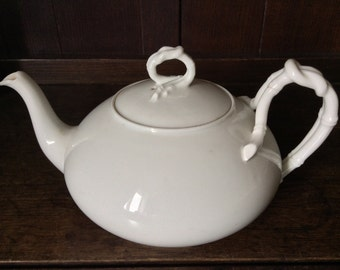 Vintage French Large White Tea Pot Teapot with Rope Detail circa 1940's / English Shop