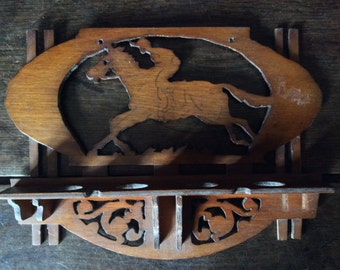 Vintage French Wood Wooden Horse Pipe Rack Stand Shelf circa 1960's / English Shop