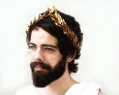 Gold Leaf Headband. Mardi Gras, Gold Crown, Gold Leaf Crown, Men's Costume, Crown, Greek God, Caesar, Gold Crown, Gold Leaf, Groom, Carnival