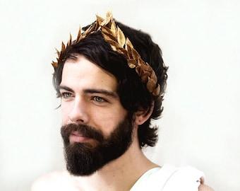 Men's Gold Leaf Crown, Gold Crown, Laurel Crown, Julius Ceasar Crown, Bacchanalia, Greek God, Gold Leaf Headband, Gold Hair Wreath, Pride