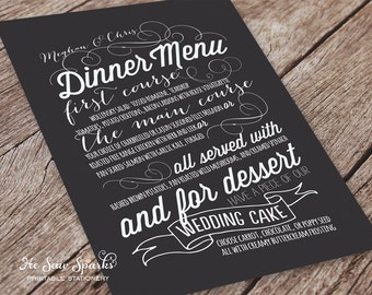 Printable Wedding Menu Card - Handdrawn Style