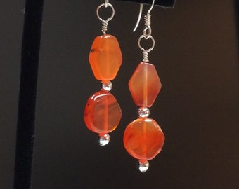 Orange Agate earrings - Agate gemstone and Sterling silver - Free shipping to CANADA & USA