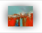 Red, turquoise and teal home decor, Red abstract art, Office decor, Master bedroom, Living room, Dining room decor, Southwest decor, 24 x 20