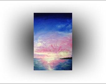 Ocean Sunset Blue Pink Painting - 24 x 36 - Skye Taylor