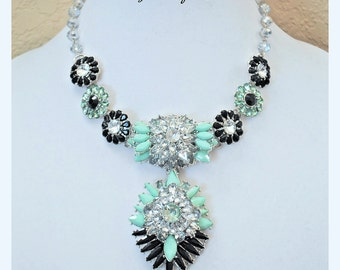 Mint green and black combo statement necklace