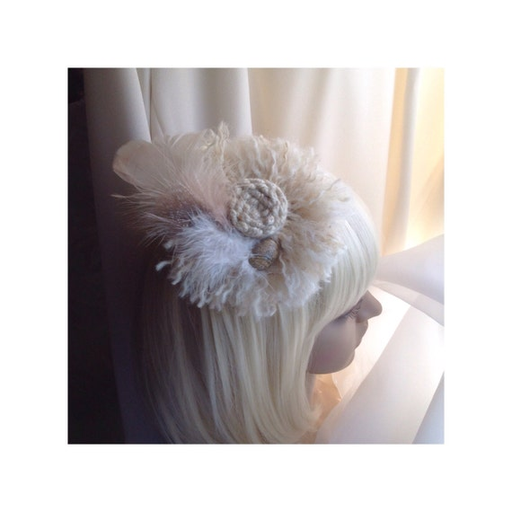 Fascinator / Brooch Natural Beige Wool With Feathers, Stone Cabuchon, Dual Purpose Pin / Clip For  Hair, Coat, Bag, Scarf,  FREE SHIP USA