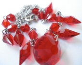 Art Deco Necklace Vintage Red Glass beads and Disc 30's