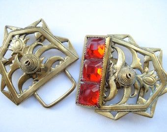 Art Deco Buckle Czech Red Glass1920's 1930's
