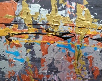 Abstract  Art original painting 8 x 10 Metallic abstract art