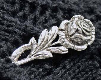 Rose Shawl Pin, Textured Silver Shawl Stick Pin, Scarf Pin, Shrug Closure, Spoon shawl pin