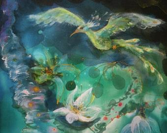 Giclee print on canvas, teal landscape, fantasy art, bedroom decor, relax, phoenix, firebird, Eden garden, children's room, blue green art
