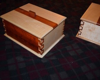 fancy joinery paduek, curly maple jewelry box