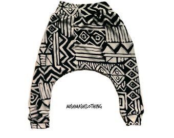 Baby harem pants Baby boy pants black cream tribal print size 0-3 months ready to ship