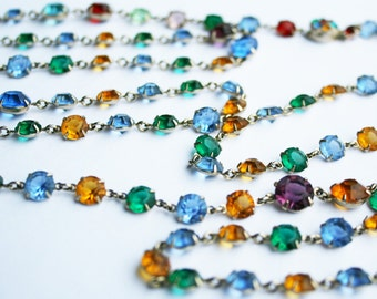 Sale Art Deco Flapper Necklace Crystal Glass Multicolor Chic