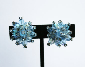 Vintage Blue Rhinestone Beaded Earrings