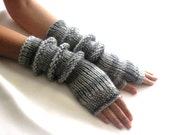 LONG Fingerless Gloves in Gray colors, Merino Wool Mittens, Arm Warmers, Hand Knitted, Eco Friendly