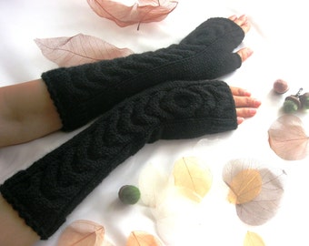 Black LONG Fingerless Gloves with a cable pattern