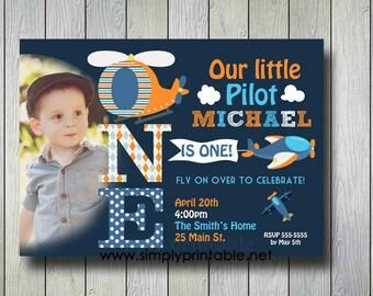 Airplane Invitation, Plane Invite, Pilot Birthday Invitation with Photo