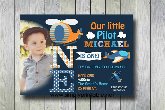 Airplane Invitation, Plane Invite, Pilot Birthday Invitation with Photo