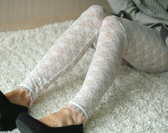 Light mint lace leggings with flowers