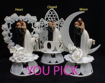 BALD Groom Dark Hair Bride Wedding cake topper Top YOU PICK Moon or Heart Backdrop funny
