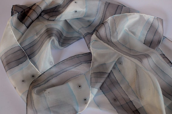 Silk shawl grey, silk shawl hand painted - Hand painted silk accessories OOAK for order