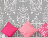 Garden Damask Allover Wall Stencil for Wallpaper Look