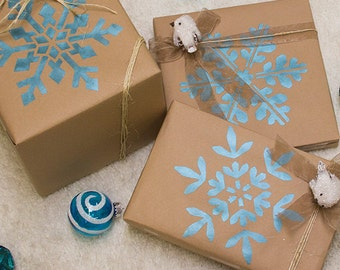 Winter Snowflake Christmas Stencil - DIY Holiday Decorating Fabric and Crafts and Wrapping Paper