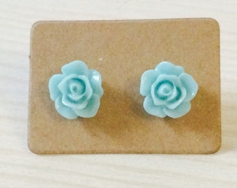 Small sky blue rose earrings