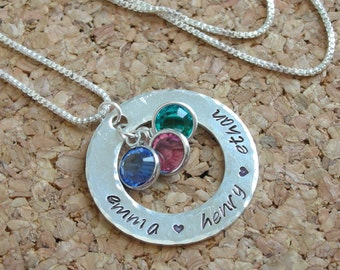 Sterling Silver Washer Mommy Necklace-Handstamped Silver Necklace-Custom Sterling Silver Necklace-Personalized Mommy Necklace-Gift for Mom