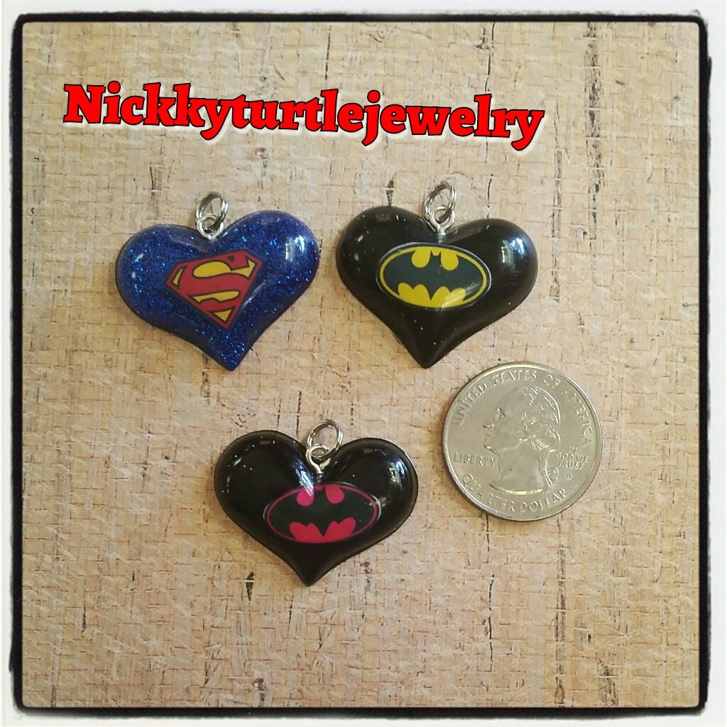 Super Hero Inspired Small Resin Heart Necklace