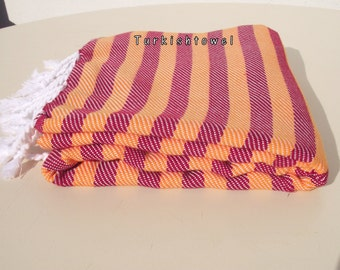 Turkishtowel-NEW Colors, Soft-High Quality,Hand Woven,Cotton Bath,Beach,Pool,Spa,Yoga,Travel Towel or Sarong-Orange and Red Stripes