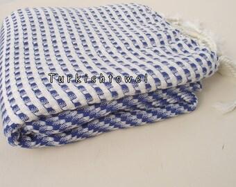 Turkishtowel-2015 Collection-Softest,Hand Woven,Cotton Bath,Beach,Pool,Spa,Yoga,Travel Towel or Sarong-Sailor Blue,Cream Stripes