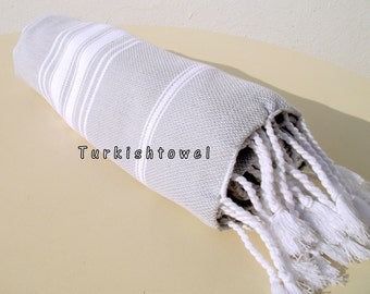 Turkishtowel-NEW Stripes, Soft-High Quality,Hand Woven,Cotton Bath,Beach,Pool,Spa,Yoga,Travel Towel or Sarong-Light Grey,White Stripes
