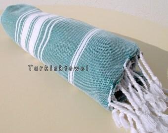 Turkishtowel-NEW Stripes, Soft-High Quality,Hand Woven,Cotton Bath,Beach,Pool,Spa,Yoga,Travel Towel or Sarong-Emerald Green,White Stripes