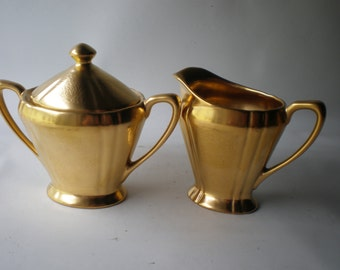 Vintage Pickard Gold Ceramic Cream and Sugar