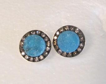 Blue druzy black diamond crystal sterling silver Earrings studs