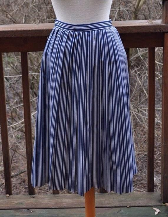 blue and white striped skirt vintage navy skirt size 8