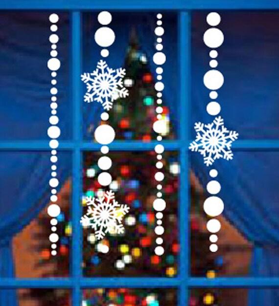 snowflake bead window door wall decals winter