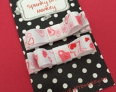 Set of 2 White with Pink Hearts Tuxedo Bow Clippies by The Spunky Little Monkey