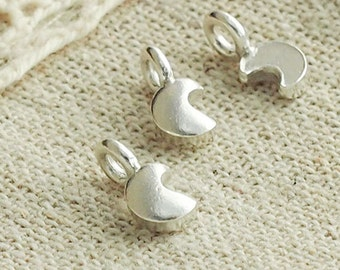 6 of Karen Hill Tribe Silver  Tiny Crescent Moon Charms 4.5x5.5 mm. :ka3984