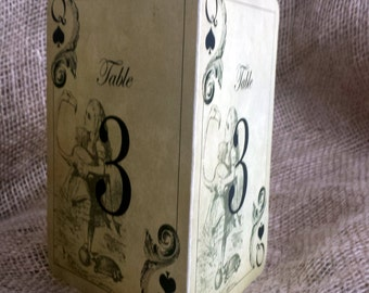 Alice in Wonderland Double Sided Table Number Cards for Weddings or Parties