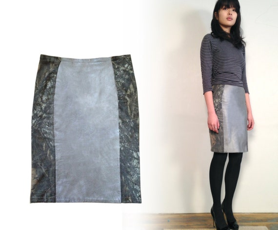 silver leather skirt silver pencil skirt real leather skirt
