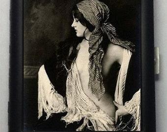 Gypsy Woman  Black Metal Wallet Cigarette Case  No. 1078