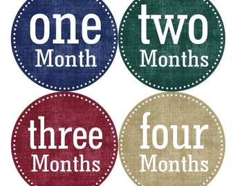 Baby Month Milestone FREE Month Baby Sticker Baby Month Milestone Stickers Baby Boy Bodysuit Stickers Blue Brown Tan Red Burgundy 046B