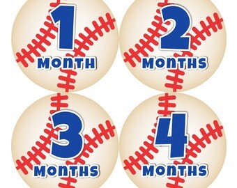Baby Month Milestone Stickers FREE Baby Month Sticker Baby Monthly Stickers Baby Boy Bodysuit Stickers Photo Props Blue Red Baseball 132B