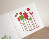 Letterpress Christmas card, Christmas cheer, Champagne, Wine, Bubbles, retro styling, red and green Made in Australia