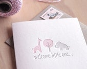 New baby expecting card, baby girl, Congratulations, Welcome little one, Letterpress, pastel pink & silver with giraffe and elephant